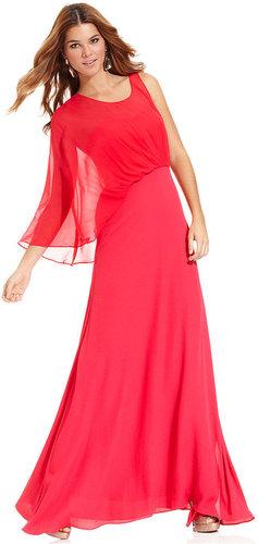 BCBGMAXAZRIA Dress, Three-Quarter-Sleeve One-Shoulder Blouson Gown