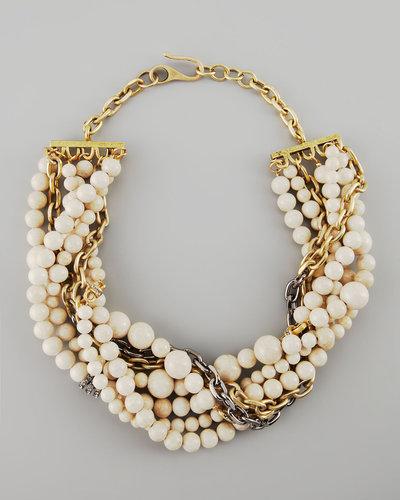 Paige Novick Julie 7-Strand Riverstone Beaded Necklace, Ivory
