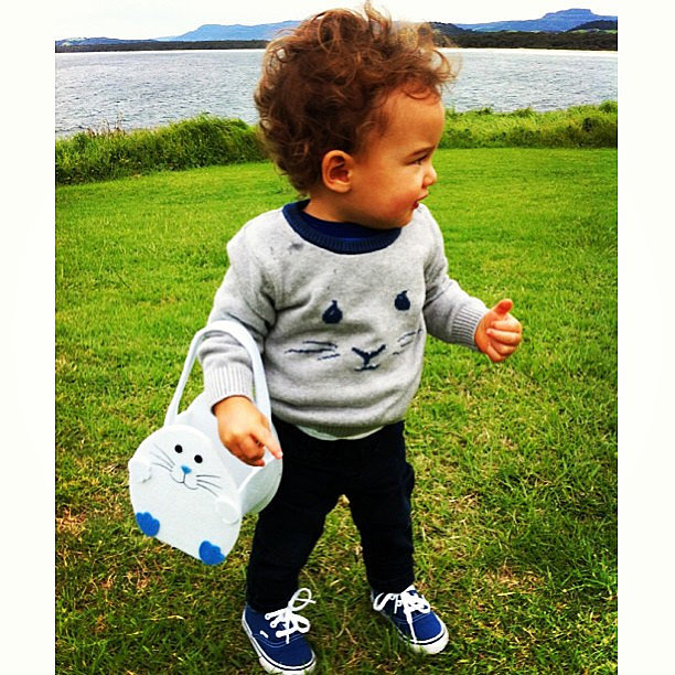 Guy and Jules Sebastian's 1-year-old son Hudson went on an Easter egg hunt — and dressed in theme! Source: Instagram user guysebastian