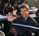 Tom Cruise waved to fans in Ireland.