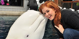 Isla Fisher Goes Cheek to Cheek With Nanuq the Beluga