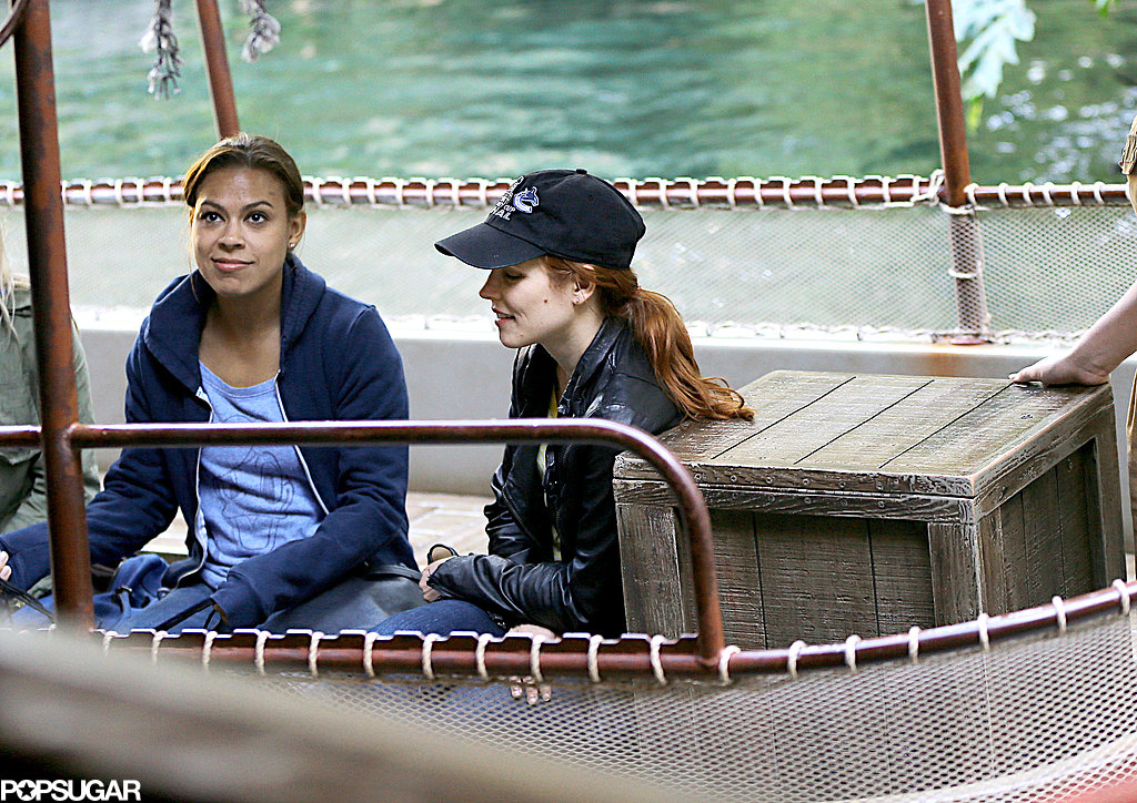 Rachel McAdams got on a boat in Disneyland.