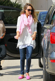 Jessica Alba coordinated her hot pink Charles Philip smoking slippers with her pink scarf while running errands around Beverly Hills.