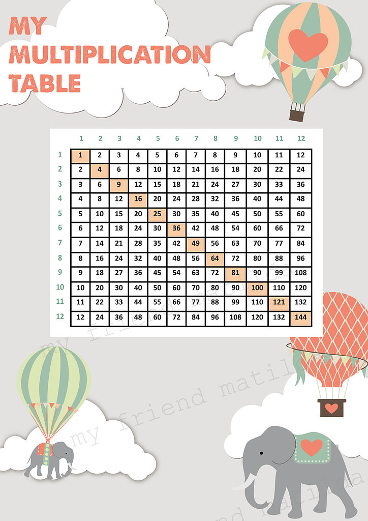 Hot Air Balloon Times Table
