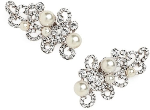 Silver Pearl Scroll Ear Cuffs