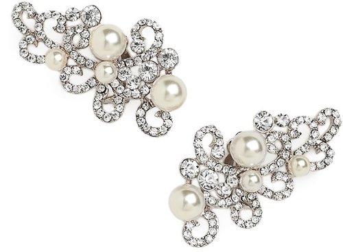 Silver Pearl Scroll Ear Cuffs