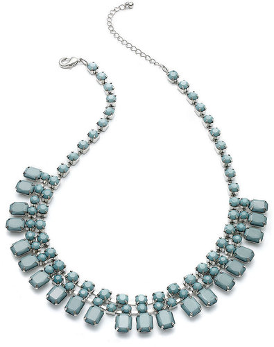 Bar III Necklace, Silver-Tone Blue Stone Frontal Necklace