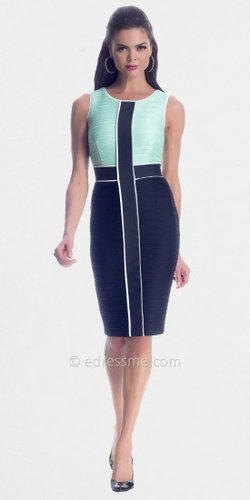 Mint Black Color Blocking Day Dresses from NUE by Shani