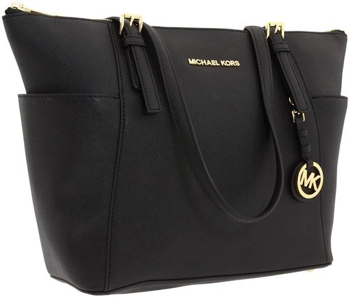 MICHAEL Michael Kors - Jet Set Saffiano Top Zip Tote (Black) - Bags and Luggage