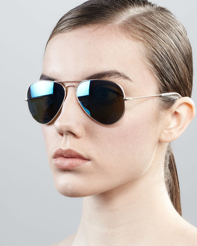 Ray-Ban Aviator Sunglasses with Flash Lenses, Gold/Blue Mirror