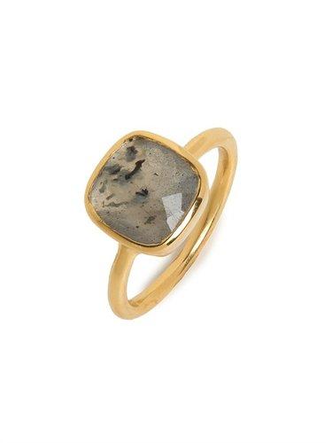Margaret Elizabeth Labradorite Cushion Cut Ring