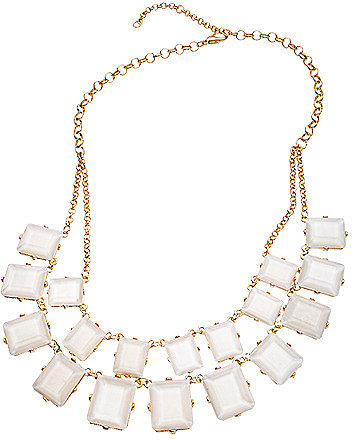 Blu Bijoux Gold and Ivory Square Crystal Double Layer Bib Necklace