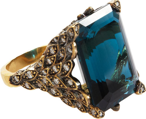 Cathy Waterman London Blue Topaz & Diamond Winged Creature Ring