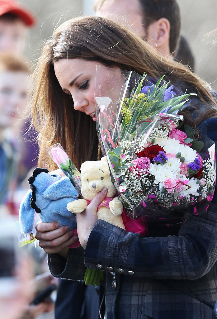 Fans showered Kate Middleton with gifts and flowers.