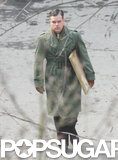 Matt Damon wore a green coat while filming The Monuments Men in Berlin.