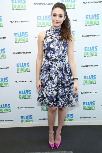 Emmy Rossum showed off an unexpected Spring pairing at a press appearance in NYC: a flirty floral Theia halter dress with pink metallic pointy pumps.