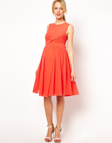 ASOS Maternity Dress in Mesh and Knot Front
