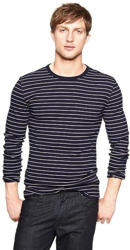 Fitted striped knit crewneck