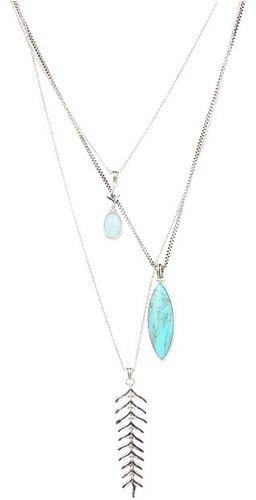Lucky Brand - Gypsy Romance Fern Triple Drop Necklace (Silver) - Jewelry