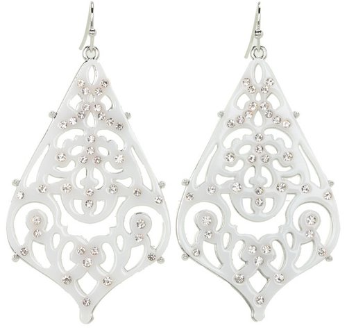Jessica Simpson - Starry Sky Large Droplet Earrings (White/Crystal/Lt. Rhodium) - Jewelry