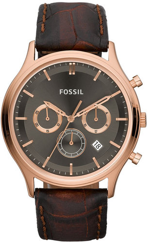 Fossil 'Ansel' Leather Strap Chronograph Watch, 41mm