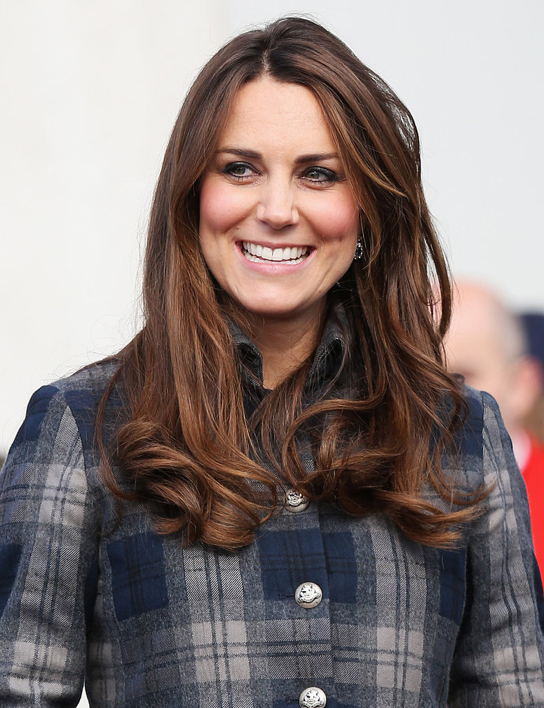 Kate Middleton may have grown out her bangs, but her thick, full waves are still an enviable look, especially when paired with pink cheeks to show off her pregnancy glow.