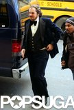 Christian Bale wore a tuxedo on his way into the set of David O. Russell's film on Tuesday.