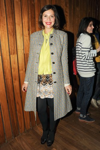 Margherita Missoni added color to her NYC party style via a bright yellow top, a printed miniskirt, and a polka-dot coat. Neil Rasmus/BFAnyc.com