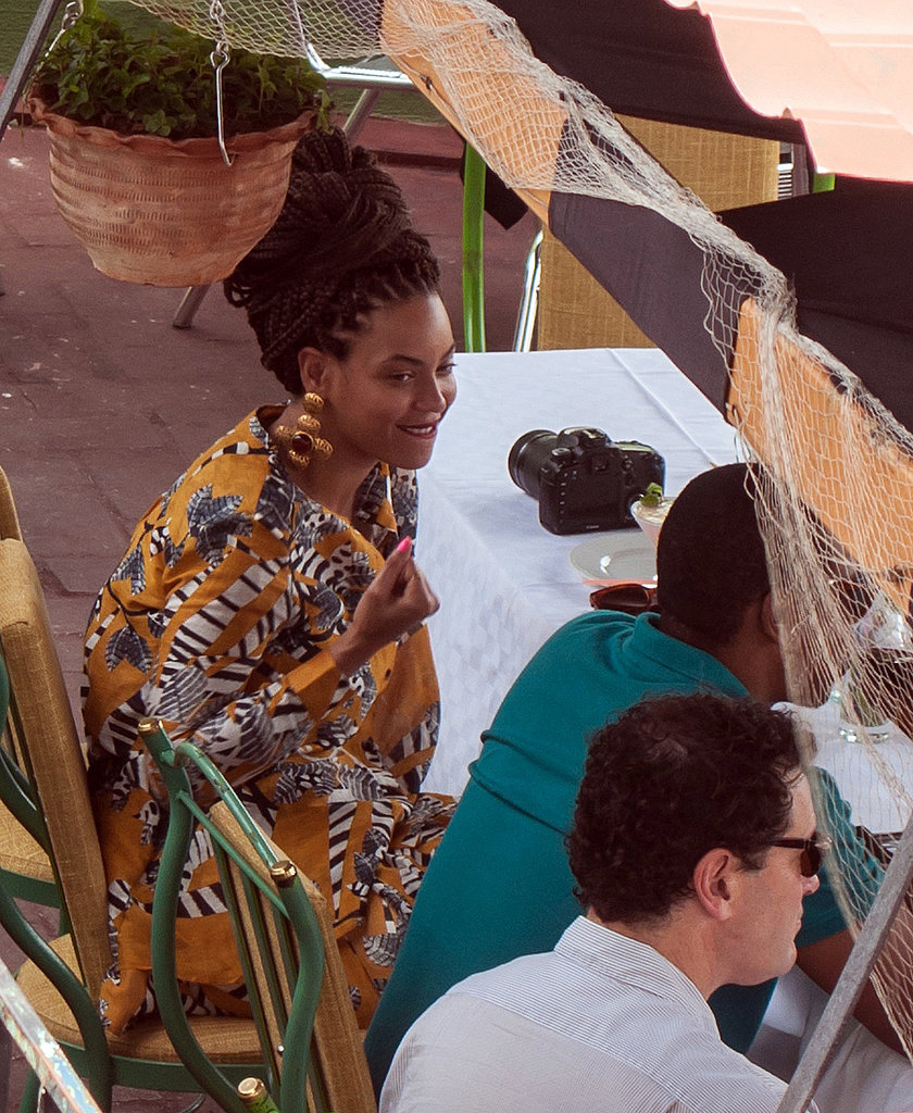 Beyoncé got print happy in a collarless blouse and matching shorts, both by Thakoon Addition, complete with large statement earrings, while grabbing lunch with Jay-Z in Havana, Cuba.