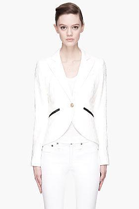 SMYTHE Off-white jacquard floral lace blazer