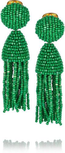 Oscar de la Renta Gold-plated beaded tassel clip earrings