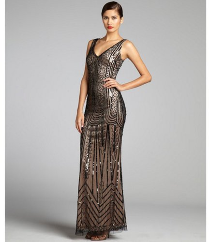 Aidan Mattox black and nude mesh sequined bead embellished gown