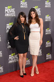 Kim Kardashian was accompanied by Kylie Jenner on the MTV Movie Awards red carpet.