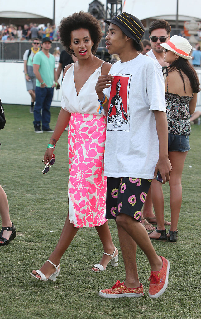 Solange Knowles chatted while strolling the grounds.
