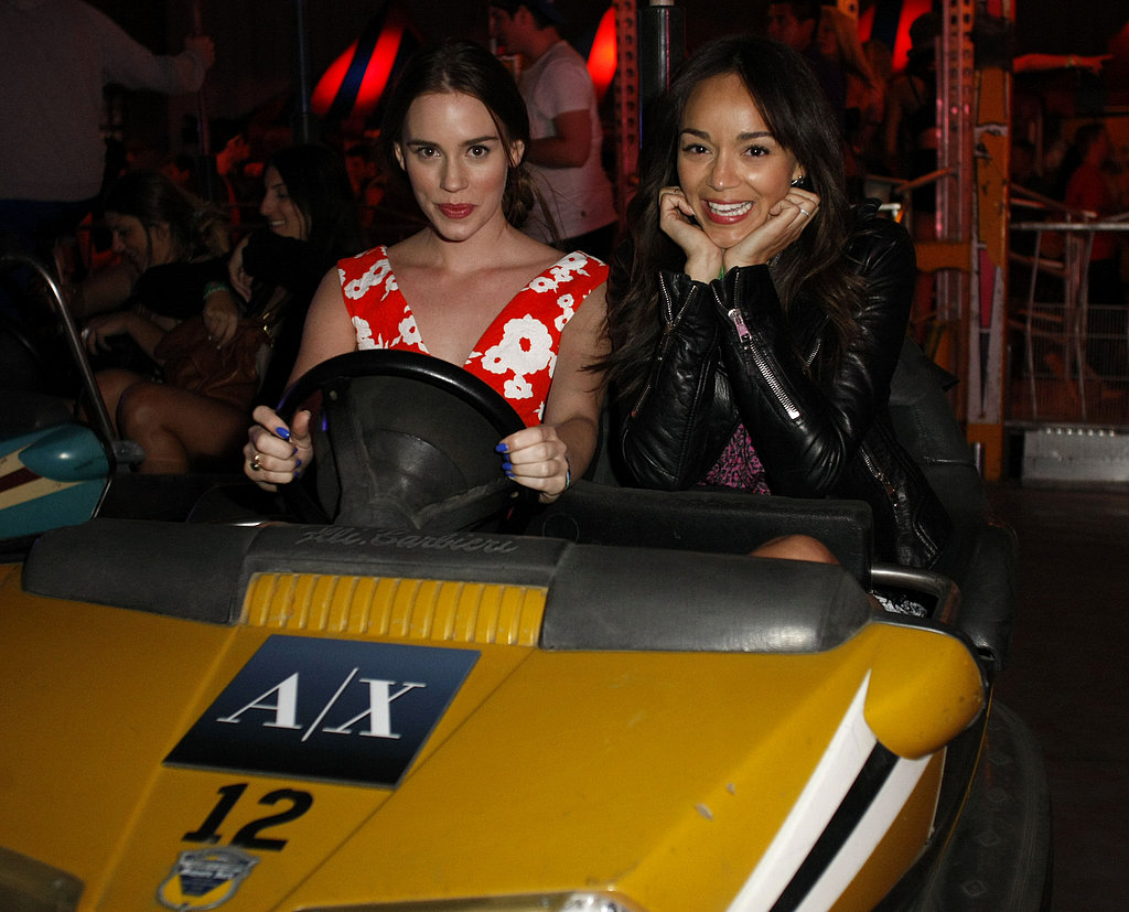Ashley Madekwe rode the bumper cars with a friend.