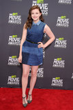 Chloë Moretz showed off a Louis Vuitton denim patchwork dress with edgy studded T-strap pumps at the MTV Movie Awards.
