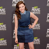 Chloe Moretz in Louis Vuitton denim to 2013 MTV Movie Awards