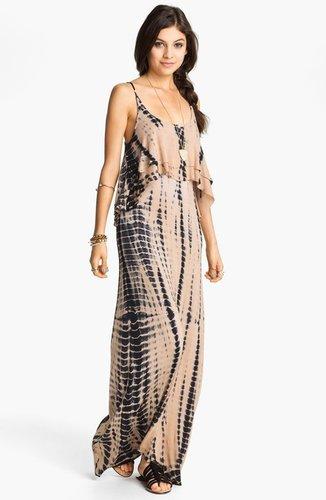 Mimi Chica Tie Dye Cutout Back Tiered Maxi Dress (Juniors)