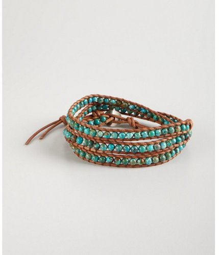 Chan Luu brown leather and turquoise bead wrap bracelet