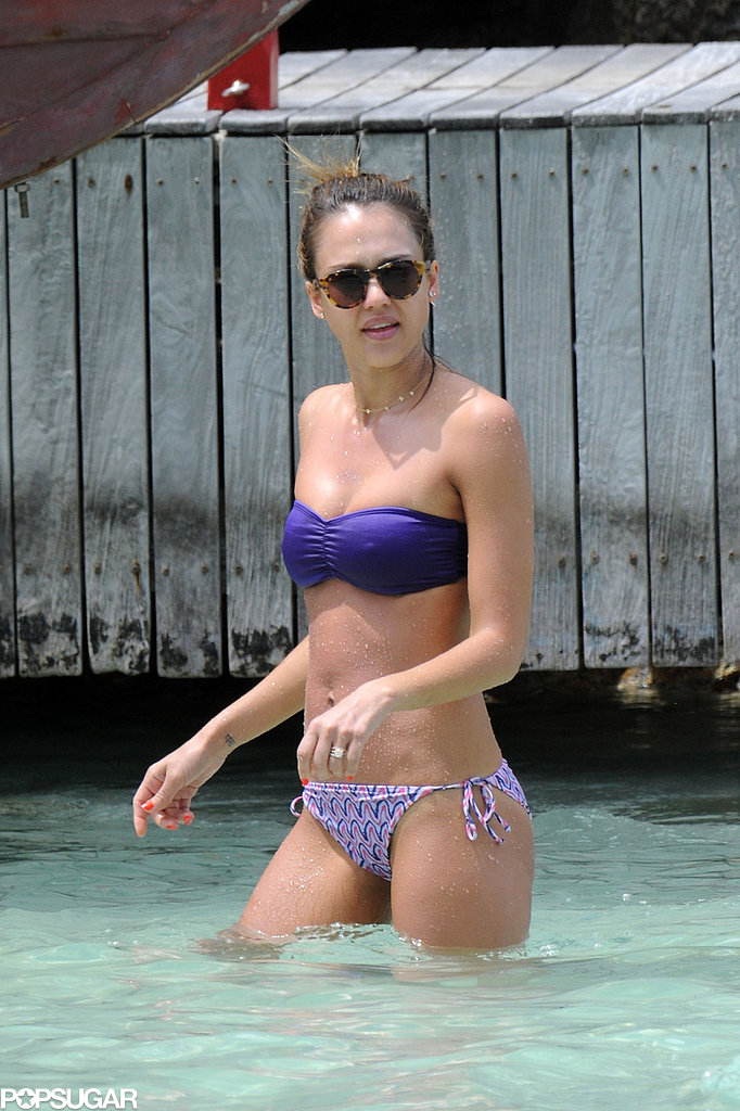 Jessica Alba wore a two-piece in St. Barts in April 2013.