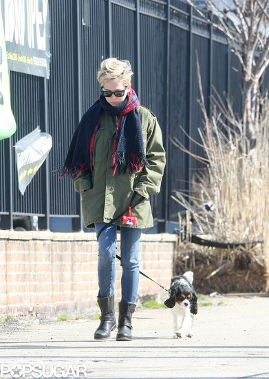 Michelle Williams went for a walk with her dog in Brooklyn.