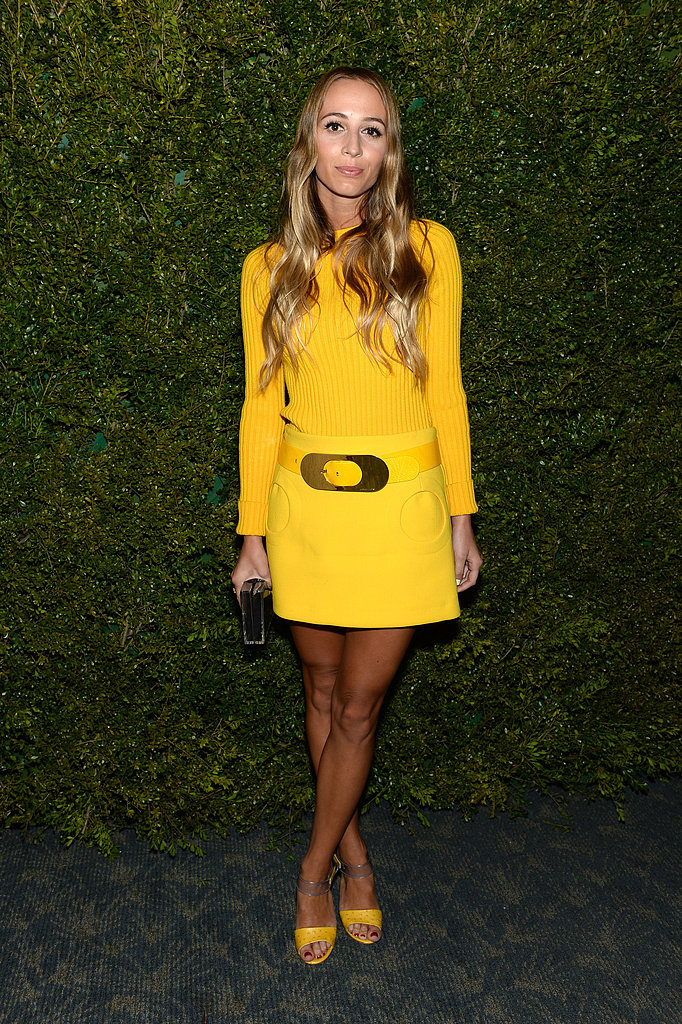 Harley Viera-Newton looked like a burst of sunshine in a Michael Kors yellow miniskirt, matching top, and cheery peep-toe sandals.