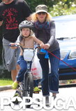 Naomi Watts helped push her son Sasha Schreiber on a bike in LA on Sunday.