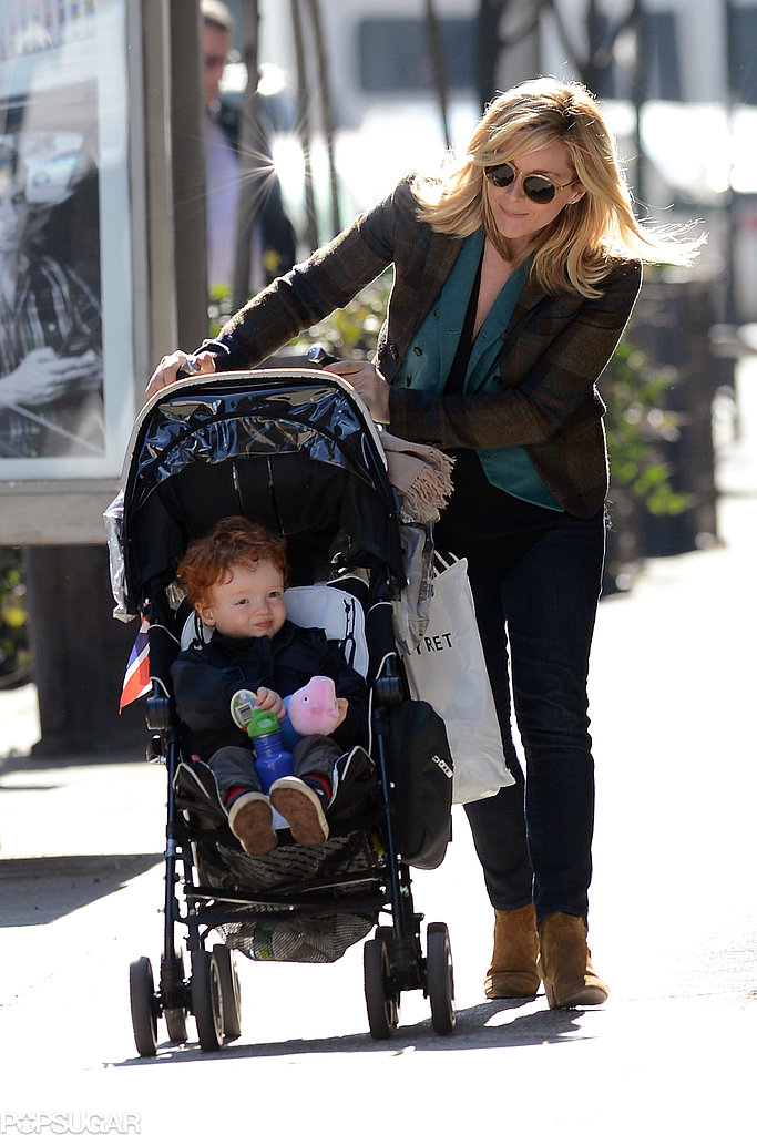 Jane Krakowski admired her little boy, Bennett Robert Godley, as she took him to music class in NYC on Monday.
