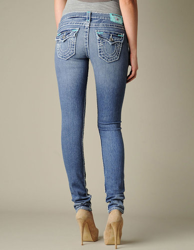 Womens Julie Natural Super T W/ Sea Blue Bartacks Jean - (med Drifter W/O Rips)
