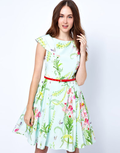 Ted Baker Dress with Full Skirt in Wallpaper Flower Print