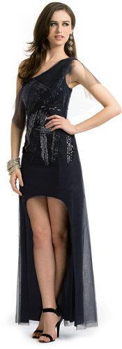 BCBGMAXAZRIA Malia Tulle Sequin Gown