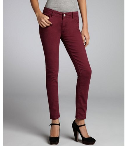 Romeo & Juliet Couture burgundy stretch denim skinny jeans