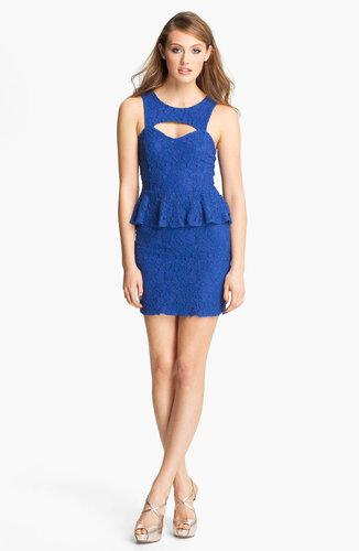 Fire Peplum Lace Body-Con Dress (Juniors)