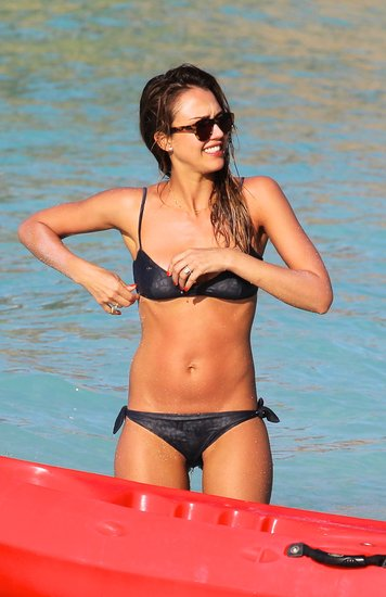 Jessica Alba Gets in Bikini Cuddles With Cash Warren in St. Barts